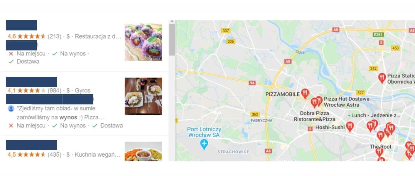 google maps - na wynos