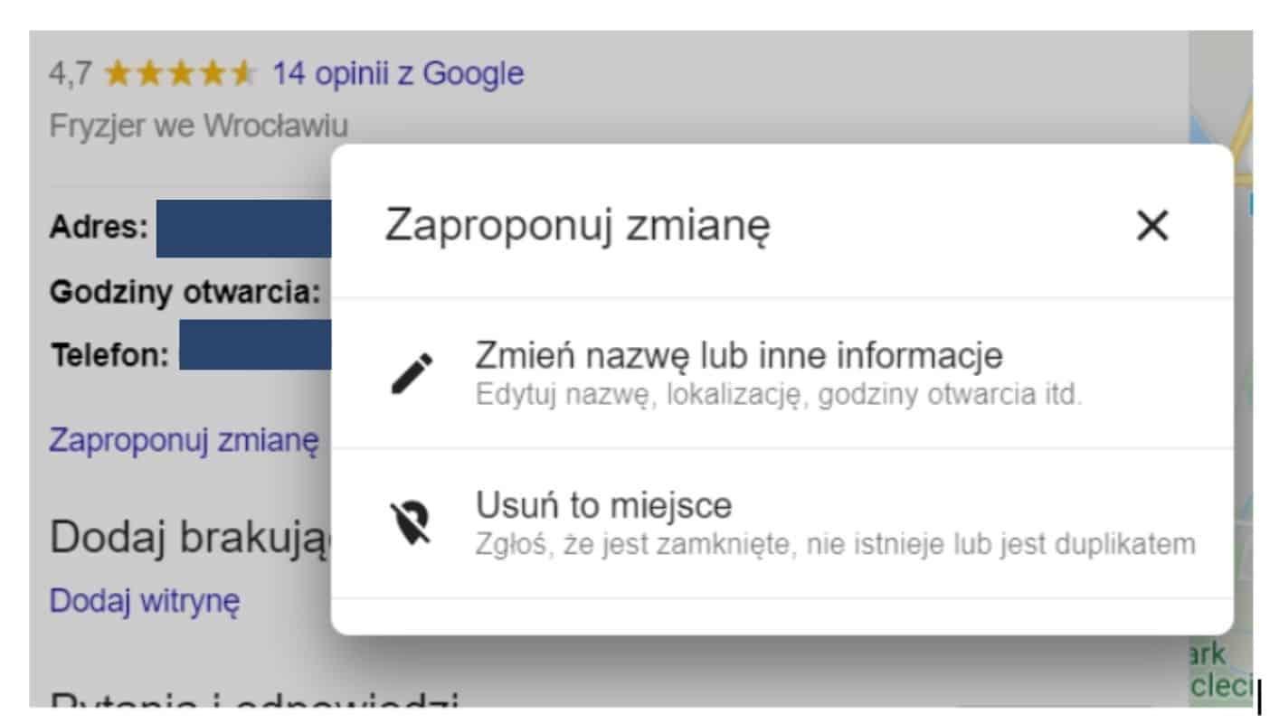 google maps - zmiana danych