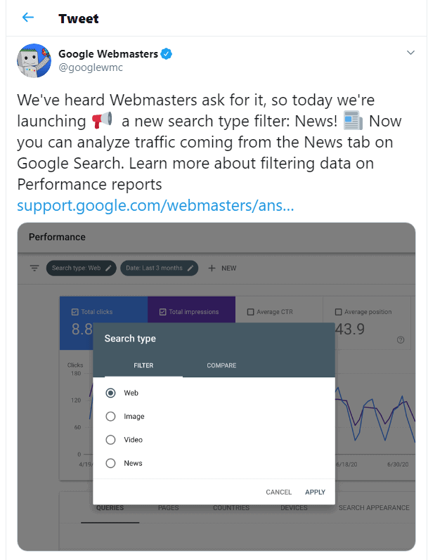 google search console - tweet