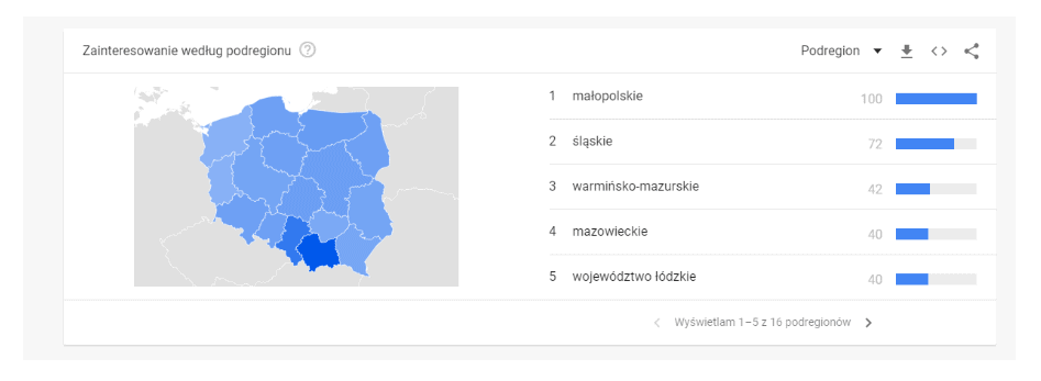 google trends - mapa