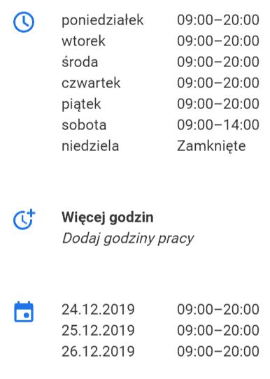 google moja firma - godziny otwarcia
