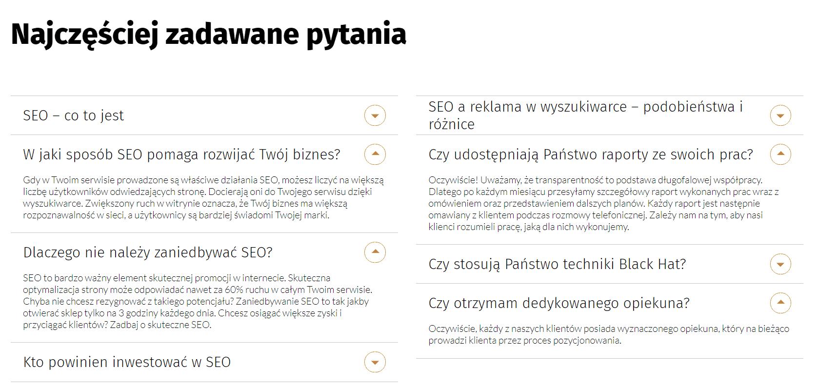 przykładowe faq na stronie internetowej